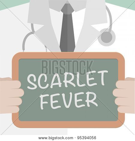 minimalistic illustration of a doctor holding a blackboard with Scarlet Fever text, eps10 vector