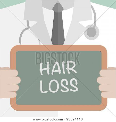 minimalistic illustration of a doctor holding a blackboard with Hair Loss text, eps10 vector