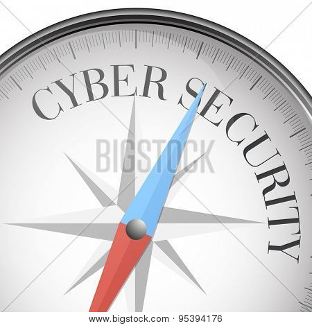 detailed illustration of a compass with Cyber Security text, eps10 vector