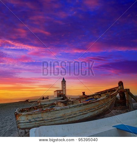 Cabo de Gata in Almeria at San Miguel Beach and Salinas church with stranded boats