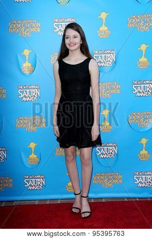 BURBANK - JUNE 25: Mackenzie Foy arrives at the 41st Annual Saturn Awards on Thursday, June 25, 2015 at the Castaway Restaurant in Burbank, CA.