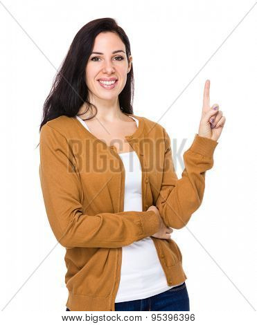 Woman with finger showing upwards
