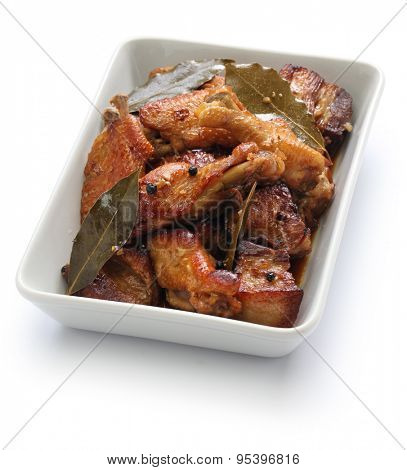 chicken and pork adobo, filipino food isolated on white background