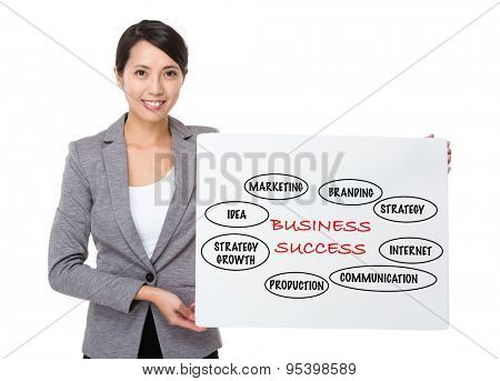 Businesswoman holding a banner presenting business success concept