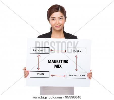 Businesswoman holding a placard showing business mix concept