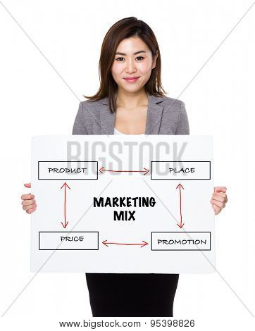 Asian businesswoman holding a board showing business mix concept