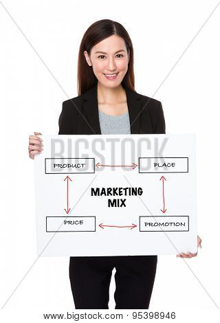 Businesswoman holding a board presenting business mix concept