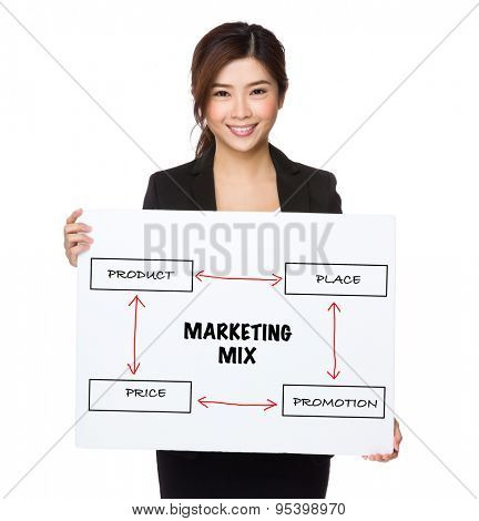 Businesswoman holding a poster presenting business mix concept