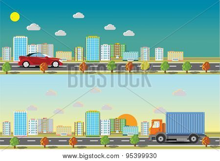 Car and Truck and  road in the city. Vector illustration.