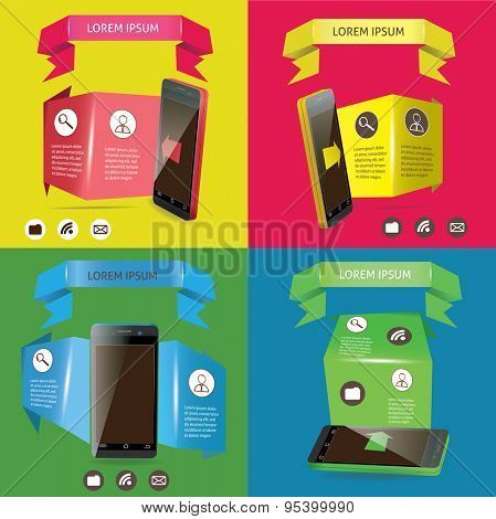 Modern smart-phones set with green ribbons vector illustration