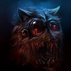 stock photo of scary face  - Scary drawn hairy monster face with sharpened  - JPG