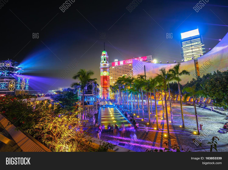 3D Light Show kong, china - december 5, 2016: the spectacular 3d light show at