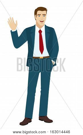 Businessman greeting someone with his hand raised up. Vector illustration.