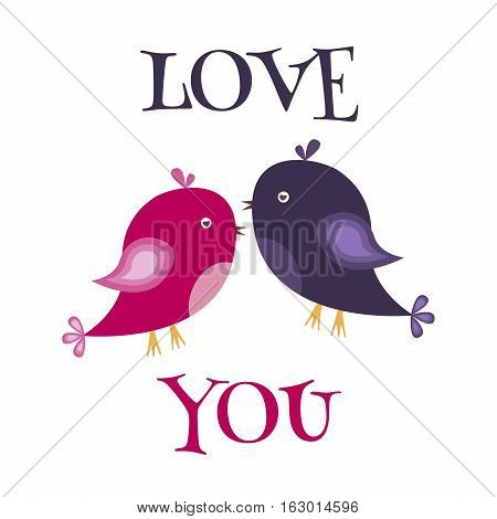 Valentines day background with love birds and love you text. Vector illustration valentines symbols romantic decoration with couple amour feeling birds. Love you greeting card.
