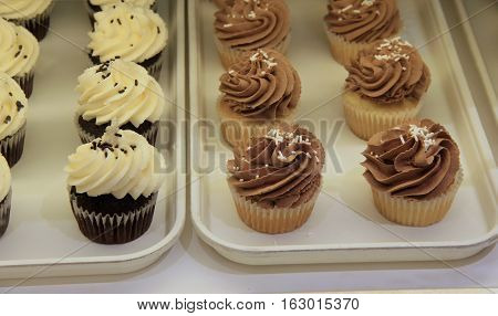 Two trays with fresh baked cupcakes, covered in sprinkles.