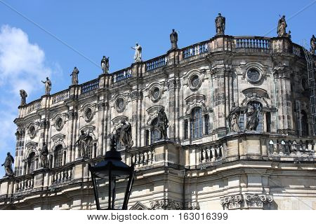 details on Cathedral of the Holy Trinity previously the Catholic Church of the Royal Court of Saxony called in German Katholische Hofkircheand Royal Castle in Dresden Germany