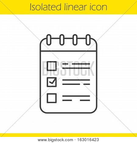 To do list linear icon. Spiral notebook with tick mark. Thin line illustration. Notepad contour symbol. Vector isolated outline drawing