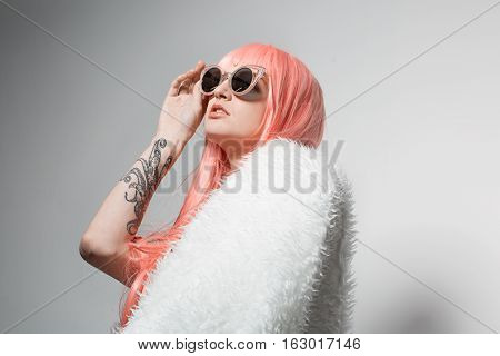 Studio Fashion Portrait Of Amazing Girl With Color Pink Hair And Isolated On White Background With T