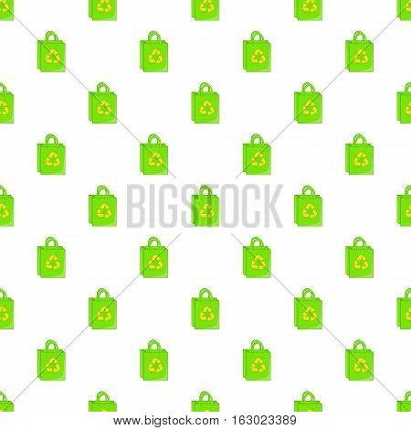 Green paper shopping bag with recycling symbol pattern. Cartoon illustration of green paper shopping bag with recycling symbol vector pattern for web