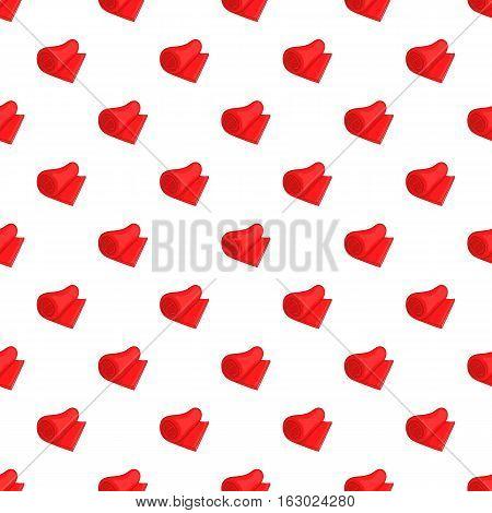 Rolled red towel pattern. Cartoon illustration of rolled red towel vector pattern for web
