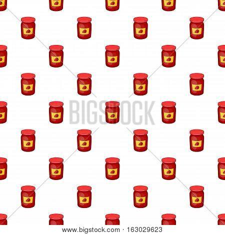 Jar of strawberry jam pattern. Cartoon illustration of jar of strawberry jam vector pattern for web