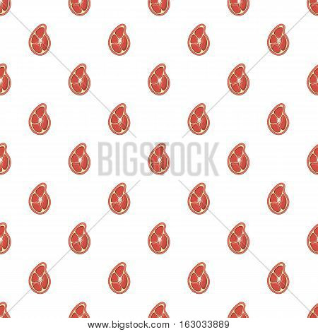 Piece of meat pattern. Cartoon illustration of piece of meat vector pattern for web