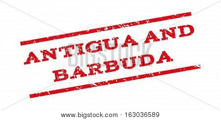 Antigua And Barbuda watermark stamp. Text tag between parallel lines with grunge design style. Rubber seal stamp with unclean texture. Vector red color ink imprint on a white background.