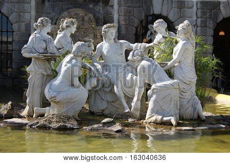Sculpture in Buddha Eden Garden, the largest oriental garden in Europe, Portugal