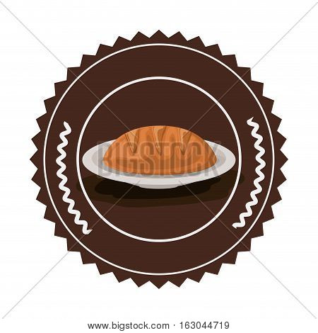 Bread inside seal stamp icon. Bakery food shop traditional and product theme. Isolated design. Vector illustration