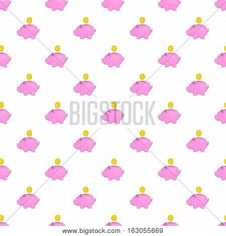 Piggy bank with coin pattern. Cartoon illustration of piggy bank with coin vector pattern for web