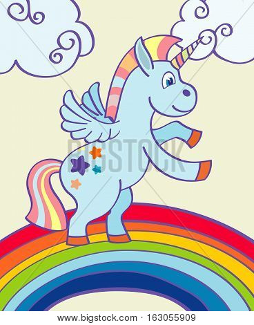 Vector hand drawn unicorn dancing on a rainbow. Vector illustration