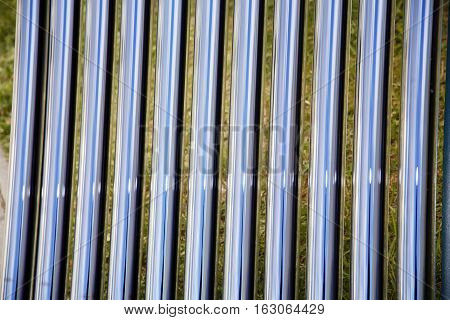 Elements of solar heating system. Details of evacuated tube solar collector