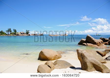 View Of The Beach And The Indian Ocean In Seychelles (praslin Island).