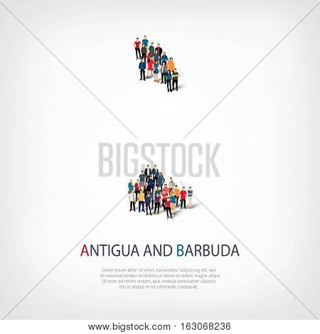 Isometric set of styles, people, map of Antigua and Barbuda, country, web infographics concept of crowded space, flat 3d. Crowd point group forming a predetermined shape. Creative people.  illustration. Photo .3D illustration. White background . Isolated.