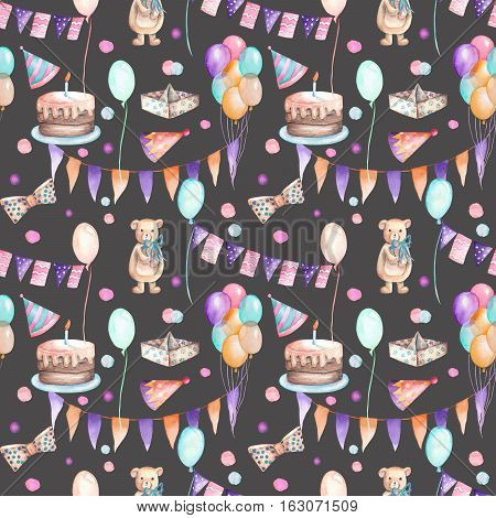 Seamless party pattern with garland of the flags, confetti, cake, air balloons, bows and gifts; hand painted in watercolor on a dark background