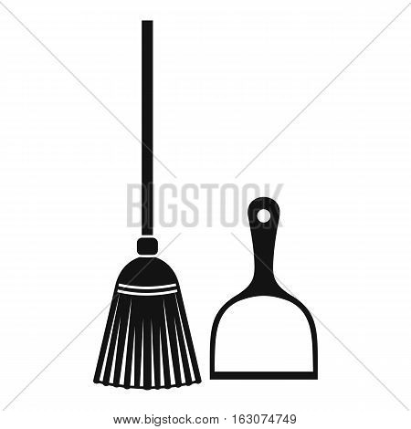 Broom and dustpan icon. Simple illustration of broom and dustpan vector icon for web