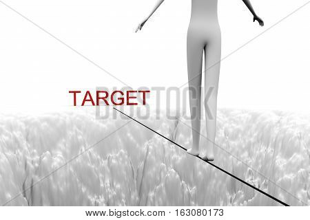 man goes over a precipice on a rope to the target 3D illustration