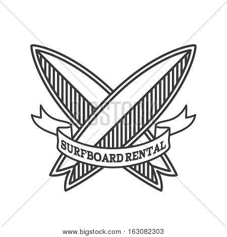 Surfboard rental logo design. Surfing logotype vector illustration. Retro style. Outline
