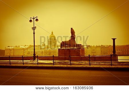 St. Isaac's Cathedral. Quay. The Sculpture Of The Sphinx. Saint-petersburg. Russia