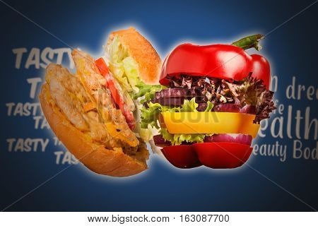 The sandwich and Healthy sandwich with fresh pepper, onion, salad lettuce on blue background. Detox diet and healthy lifestyle.