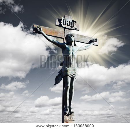 Crucifixion of Jesus Christ in the sky and the sun