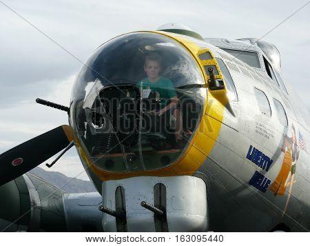 n-us-nv  Nellis AFB, Nevada - 2007-11-11:  Boeing B-17 Flying Fortress Bomber Plane