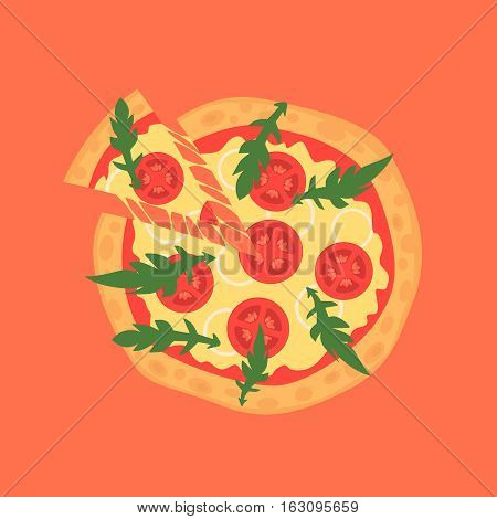 Hot pizza slice with melting cheese. Vector illustration of margherita. Cartoon style