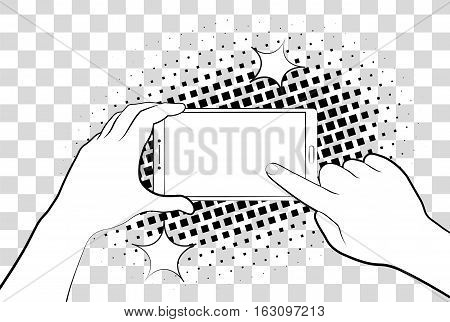 Comic Phablet With Halftone Shadows. Hand Holding Smartphone. Sign In Page On Phone Screen. Vector I