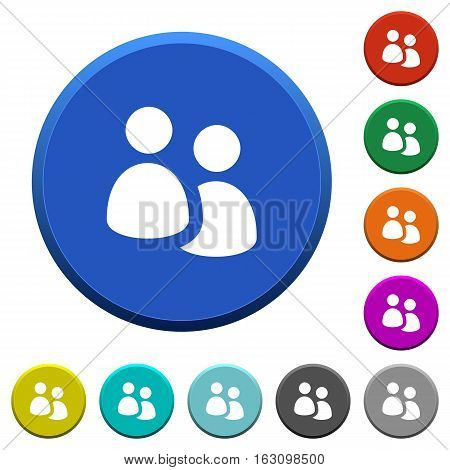 User group round color beveled buttons with smooth surfaces and flat white icons