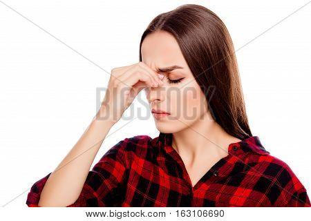 Overworked Sad Brunette Woman Having Strong Headache