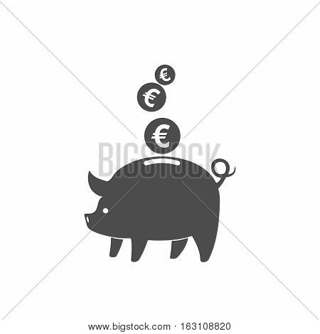 Piggy bank and coins icon isolated. Gray piggy bank with falling euro coins in flat design. Vector illustration.