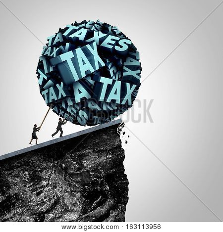 Tax strategy concept as an accountant and bookkeeping symbol as people pushing a huge ball made of taxes text being pushed off a cliff as a financial and fiscal management symbol with 3D illustration elements.