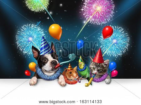 New year pet celebration as a night party with fireworks partying as a group of animals as a happy dog cat bird and hamster celebrating an anniversary or birthday party with 3D illustration elements.