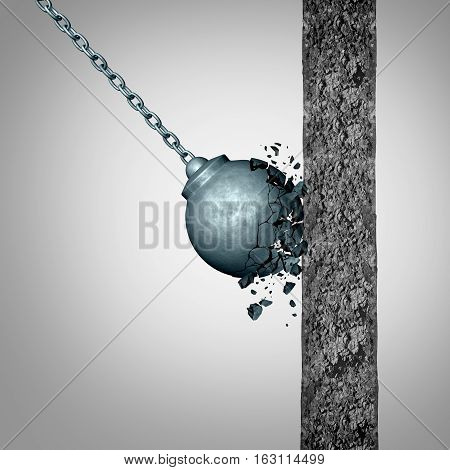 Concept of fragility and strength and resistance as a failing wrecking ball breaking apart after hitting a solid cement wall as a fragile metaphor with 3D illustration elements.